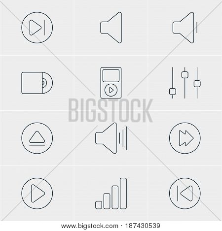 Vector Illustration Of 12 Music Icons. Editable Pack Of Start, Subsequent, Decrease Sound And Other Elements.