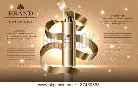 Cosmetics beauty series ads of premium spray cream for skin care gold ribbon. Template for design poster placard presentation banners cover vector illustration.