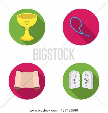 A cup of wine, Islamic beads, ten commandments, tanakh. Religion set collection icons in flat style vector symbol stock illustration .