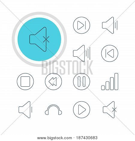 Vector Illustration Of 12 Melody Icons. Editable Pack Of Volume Up, Subsequent, Pause And Other Elements.
