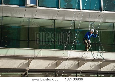 Moscow Russia 16 may 2017: industrial climber in Moscow city