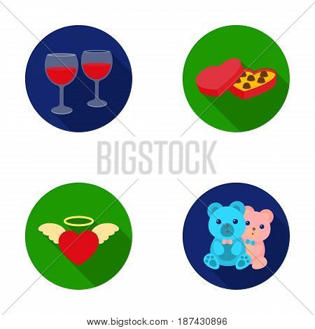 Glasses with wine, chocolate hearts, bears, valentine.Romantik set collection icons in flat style vector symbol stock illustration .