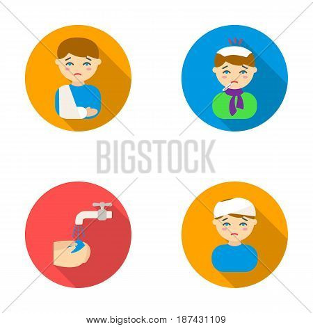 A man with a broken arm in a cast, a patient with a thermometer in his mouth in a scarf, hands under a stream of water, wash, a boy with a bandaged head bandage. Sick set collection icons in flat style vector symbol stock illustration .