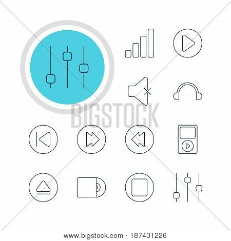 Vector Illustration Of 12 Melody Icons. Editable Pack Of Advanced, Soundless, Mp3 And Other Elements.