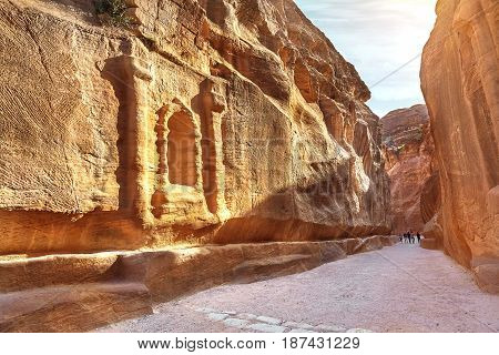 Main entrance to the ancient city of Petra. Southern Jordan