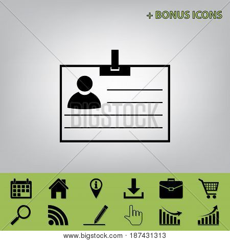 Id card sign. Vector. Black icon at gray background with bonus icons at celery ones