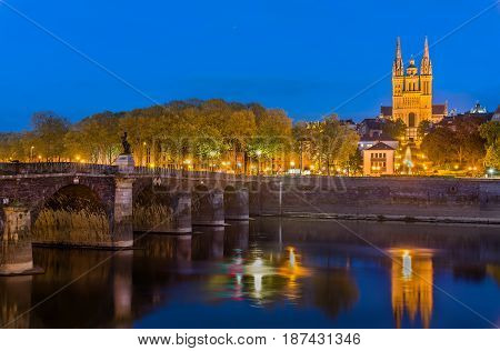 Night view of Angers with Verdun Bridge and Saint Maurice Cathedral - France, Maine-et-Loire