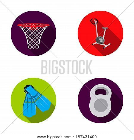 Exercise bike with a counter, fins for swimming, a weight, a basketball basket. Sport set collection icons in flat style vector symbol stock illustration .