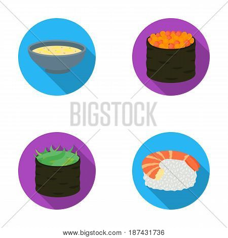 Bowl of soup, caviar, shrimp with rice. Sushi set collection icons in flat style vector symbol stock illustration .