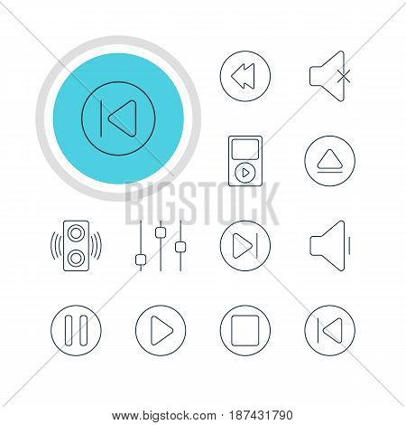 Vector Illustration Of 12 Melody Icons. Editable Pack Of Rewind, Mp3, Subsequent And Other Elements.