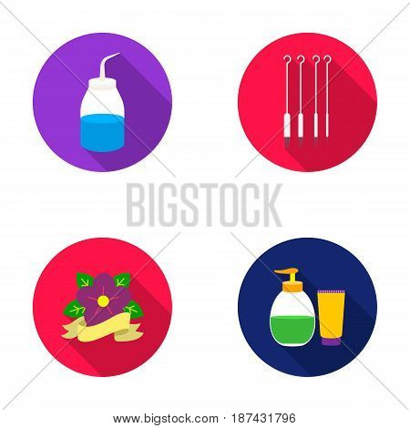 Gel, needles and other equipment. Tattoo set collection icons in flat style vector symbol stock illustration .
