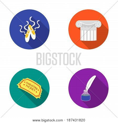 Pointe shoes, column, theater ticket, inkwell with feather. Theater set collection icons in flat style vector symbol stock illustration .