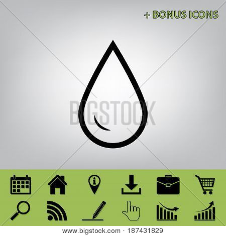 Drop of water sign. Vector. Black icon at gray background with bonus icons at celery ones