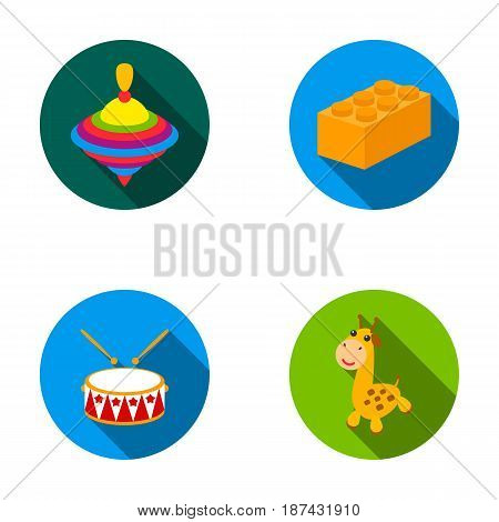 Yula, lego, drum, giraffe.Toys set collection icons in flat style vector symbol stock illustration .