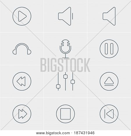 Vector Illustration Of 12 Music Icons. Editable Pack Of Advanced, Start, Reversing And Other Elements.
