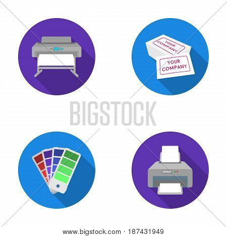Printer, credit card, color palette.Typography set collection icons in flat style vector symbol stock illustration .