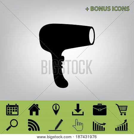 Hair Dryer sign. Vector. Black icon at gray background with bonus icons at celery ones