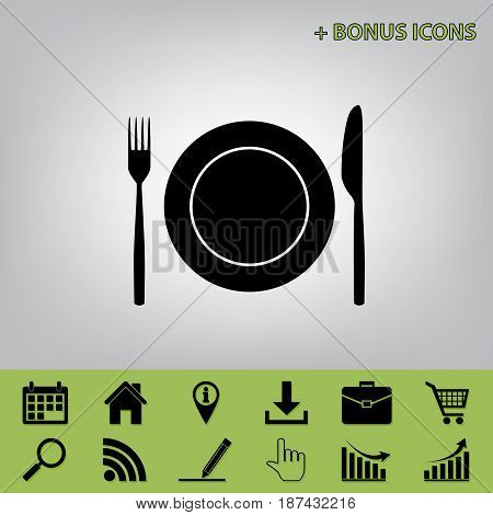 Fork, Knife and Plate sign. Vector. Black icon at gray background with bonus icons at celery ones