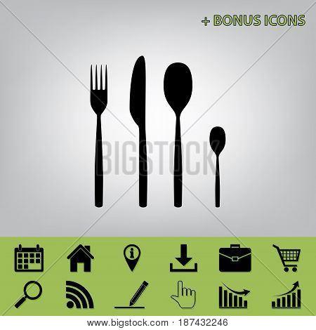 Fork spoon and knife sign. Vector. Black icon at gray background with bonus icons at celery ones