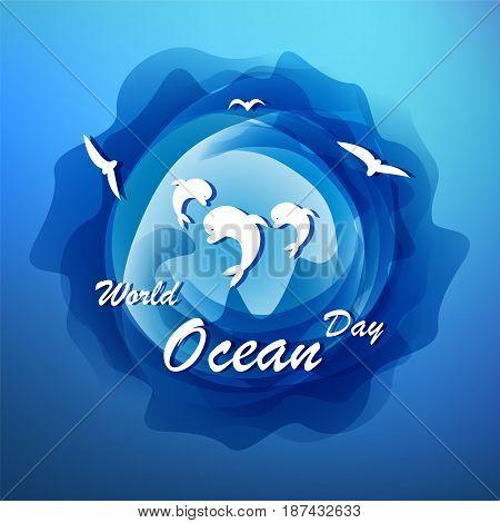 World ocean day. 8th June. Vector illustration.