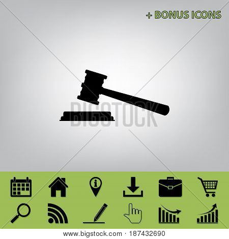 Justice hammer sign. Vector. Black icon at gray background with bonus icons at celery ones