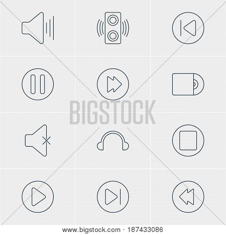 Vector Illustration Of 12 Music Icons. Editable Pack Of Lag, Start, Subsequent And Other Elements.