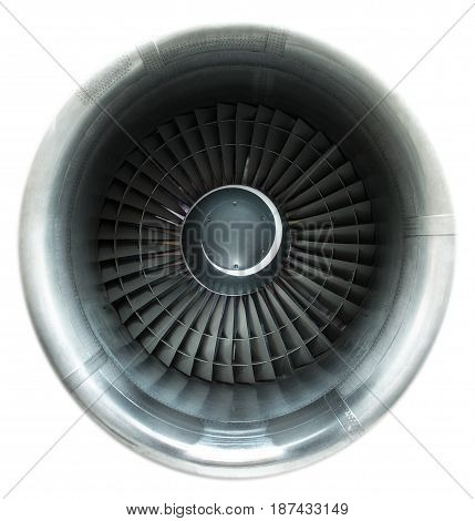 Front view on jet engine. Isolated on white
