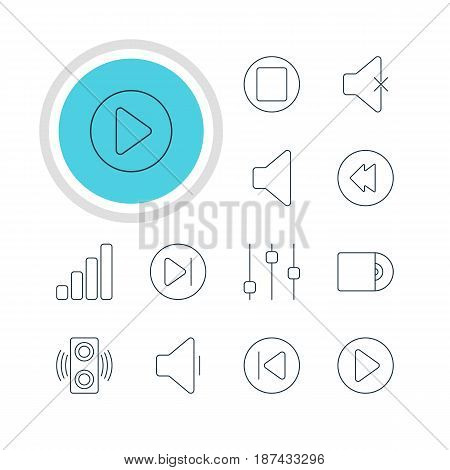 Vector Illustration Of 12 Melody Icons. Editable Pack Of Compact Disk, Start, Reversing And Other Elements.