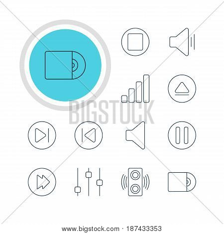 Vector Illustration Of 12 Melody Icons. Editable Pack Of Preceding, Audio, Lag And Other Elements.