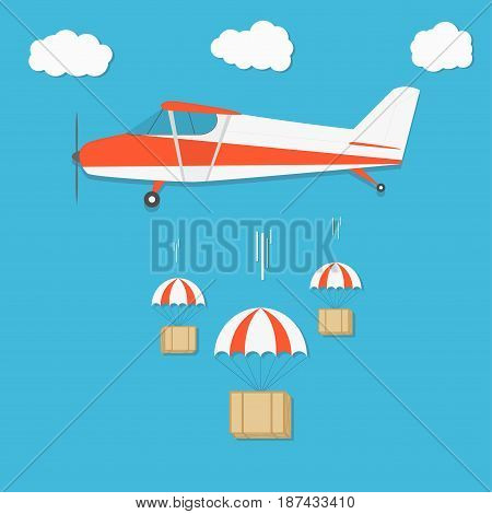 Delivery . Airplane With Parachute Box Packages On Blue Sky Background