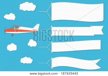 Flying Advertising Banner. Plane With Horizontal Banners On Blue Sky Background.
