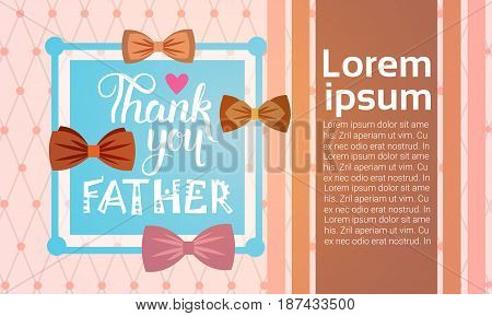 Happy Father Day Family Holiday, Greeting Card Flat Vector Illustration