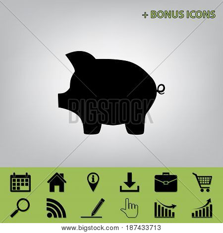 Pig money bank sign. Vector. Black icon at gray background with bonus icons at celery ones