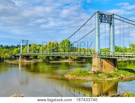 Bridge across the Loire at Gennes - France, Maine-et-Loire