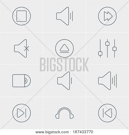 Vector Illustration Of 12 Melody Icons. Editable Pack Of Advanced, Pause, Decrease Sound And Other Elements.