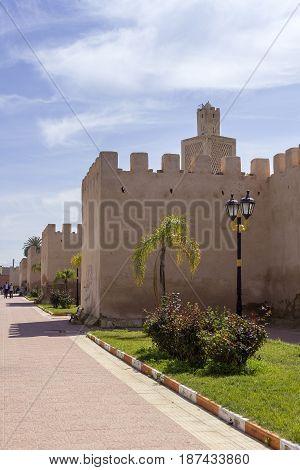 View over Kasba Tadla city fortress in Beni-Mellal Province Tadla-Azilal Morocco.