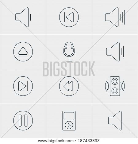 Vector Illustration Of 12 Music Icons. Editable Pack Of Decrease Sound, Speaker, Audio And Other Elements.
