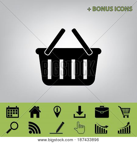 Shopping basket sign. Vector. Black icon at gray background with bonus icons at celery ones