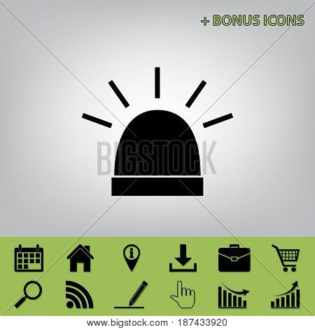 Police single sign. Vector. Black icon at gray background with bonus icons at celery ones