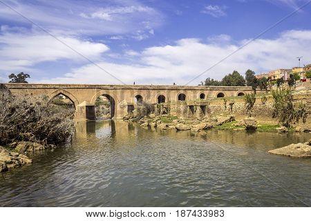 View over Oum Errabia river bridge to Kasba Tadla city in Beni-Mellal ProvinceTadla-Azilal Morocco.