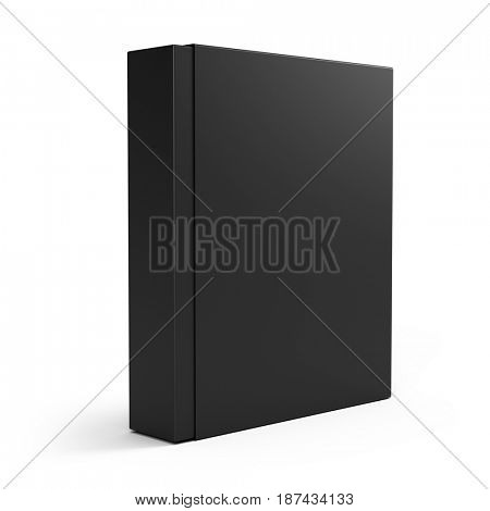 Blank black box isolated over white background. 3d render