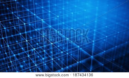 Concept of Network, internet communication, Big Data - Technology background - 3d illustration