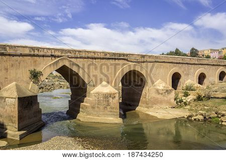 View over Oum Errabia river bridge to Kasba Tadla city in Beni-Mellal Province Tadla-Azilal Morocco.