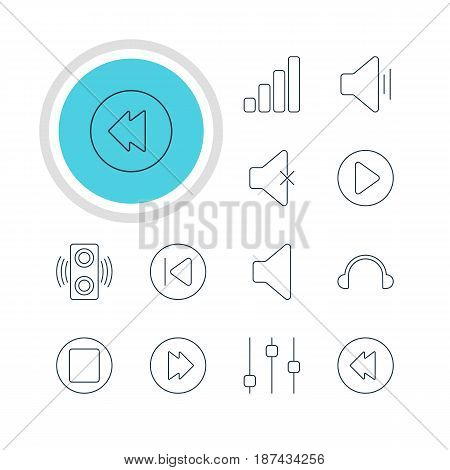 Vector Illustration Of 12 Melody Icons. Editable Pack Of Stabilizer, Start, Reversing And Other Elements.