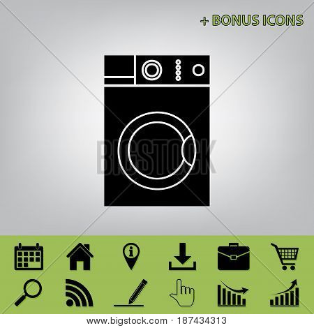 Washing machine sign. Vector. Black icon at gray background with bonus icons at celery ones