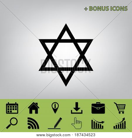 Shield Magen David Star. Symbol of Israel. Vector. Black icon at gray background with bonus icons at celery ones