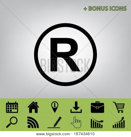 Registered Trademark sign. Vector. Black icon at gray background with bonus icons at celery ones