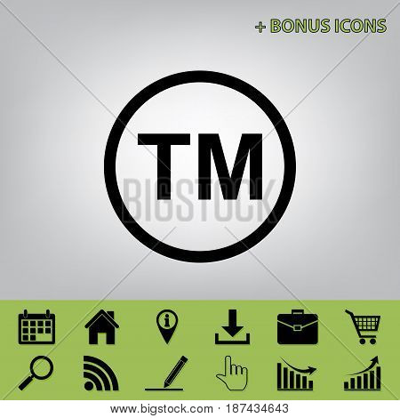 Trade mark sign. Vector. Black icon at gray background with bonus icons at celery ones