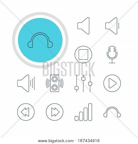 Vector Illustration Of 12 Music Icons. Editable Pack Of Stabilizer, Earphone, Mike And Other Elements.
