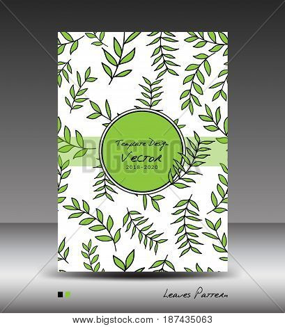 Green Cover design Annual report vector illustration business brochure flyer nature book template leaves pattern seamless cosmetics beauty products organic and healthy food wedding card postcard